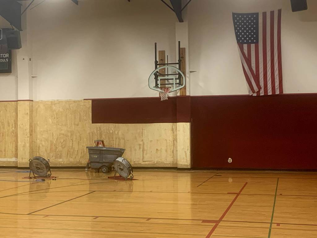 Removing carpet from wall in the gym